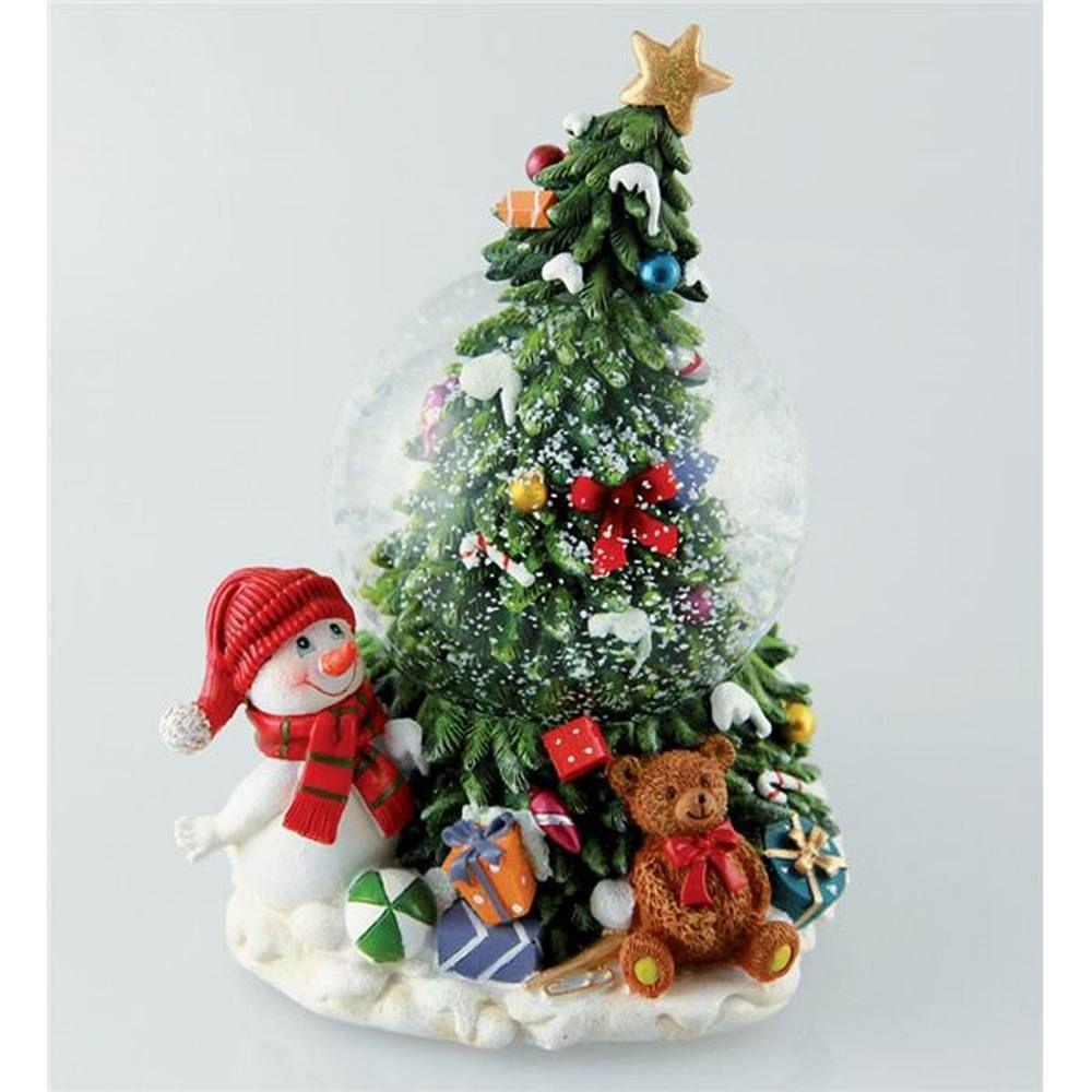 Sfera Musicale Con Albero Di Natale E Pupazzo Neve
